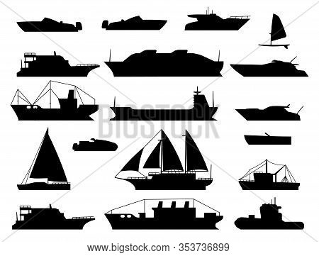 Maritime Vessel Silhouette. Small Sailboat, Travel Cruise Boats And Ship, Yacht And Boating Transpor