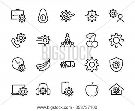 A Simple Set Of Settings And Options Related To Vector Line Icons. Contains Icons Such As Set Time,