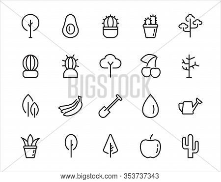 A Set Of Rosteniya Icons, And Garden Care, Vector Illustration, Contains Icons Such As Tree, Cactus,
