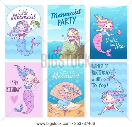 Mermaid Cards. Creative Postcard With Mythical Cute Princesses And Sea Creatures Template For Birthd