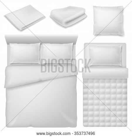Realistic Bedding. Top View Bed With White Bedding Linen, Blanket And Pillows, Soft Cotton Folded To