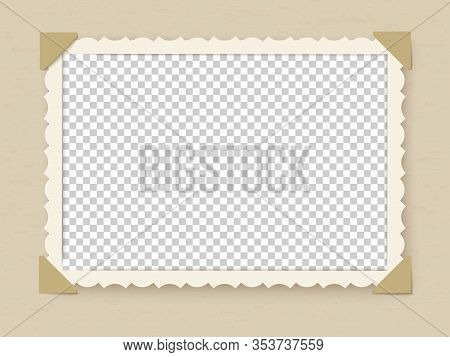 Retro Photo Frame. Vintage Old Postcard For Album Or Picture With Decoration Edges Vector Photoframe