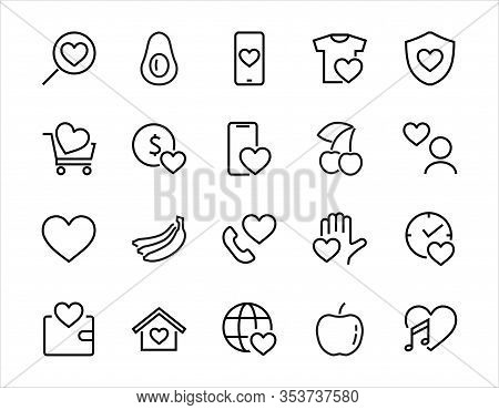 The Set Of Icons About Love Contains Such Icons As Love Of Music, Declaration Of Love, Heart, Favori