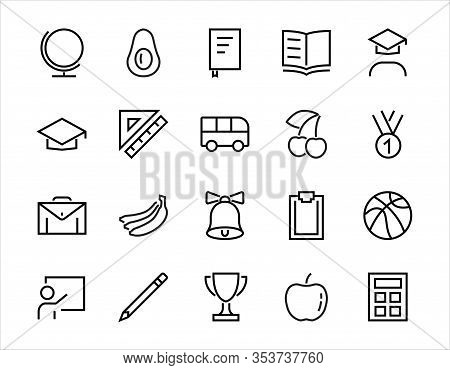 A Simple Set Of School Items. Contains Icons Such As Student, Award, Geography, Physical Education,