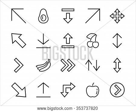 Set Of Line Arrows, Directions, Arrows, Contains Icons Such As Pause, Continuation, Directly, To The