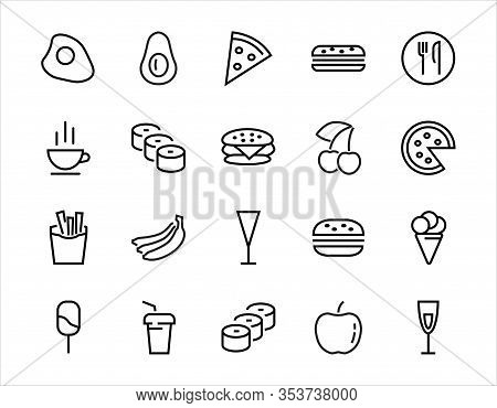 A Simple Set Of Fast Food Icons Related To The Vector Line. Contains Icons Such As Pizza, Burger, Su