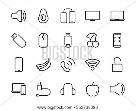 A Set Of Smart Devices And Gadgets, Computer Hardware And Electronics. Electronic Devices Icons For