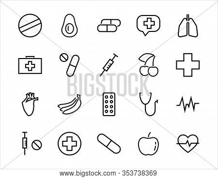 Simple Set Of Medicine, Pills Related Vector Line Icons. Contains Icons Such As Pain, Syringe, Table