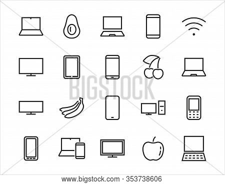 Set Of Smart Devices And Gadgets, Computer Hardware And Electronics. Electronic Device Icons For Web
