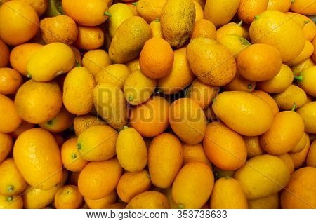 A Lot Of Kumquats Are In A Drawer In The Store. The Harvest Of Kumquats And A Healthy Diet