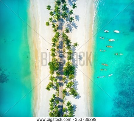 Aerial View Of Road And Two Beautiful Tropical Beaches