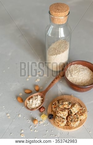 Raw Vegan Healthy Dessert, Date And Nuts Bliss Balls, Ingredients. Top View, Space For Text