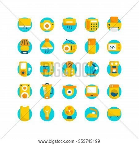 Electrical  Appliance Flat Icon Set. Vector And Illustration.