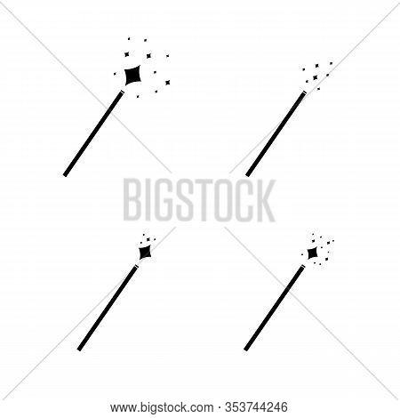 Vector Magic Wand Icons Set, Black Pictogram Isolated On White Background, Magical Shining.