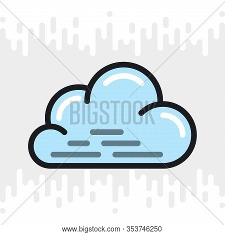 Cloudy, Cloudiness Or Overcast Icon For Weather Forecast Application Or Widget. Cloud Closeup. Color