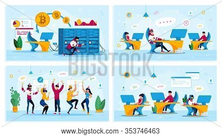 Bitcoin Trading, Employees Motivation, Corporate Party, It Company Team Trendy Flat Vector Concepts