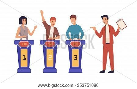 Happy Cartoon People At Quiz Tv Show Flat Vector Illustration. Smiling Man And Woman Participants An