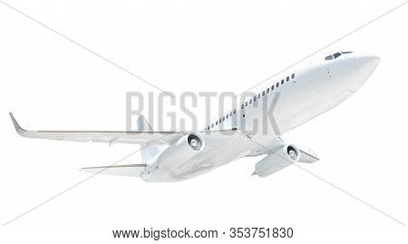 Airplane Isolated On White Background. Clipping Path And Cutout. Travel And Transport.