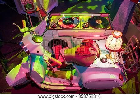 Amsterdam, Netherland - January 30 2020: Dj Set, Deejay Console For Nightclub Or Music Festival Made