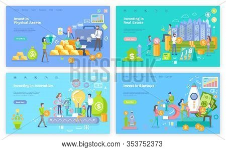 Invest In Real Estate Vector, Investing In Physical Assets And Innovation, Startup People Launching