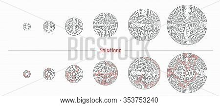 Vector Illustration Of Set Of 5 Circle Mazes For Kids And Not Only At Different Levels Of Complexity