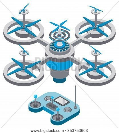Drone With Remote Controller, Wireless Device With Propellers, Quadcopter Symbol, Aircraft With Remo