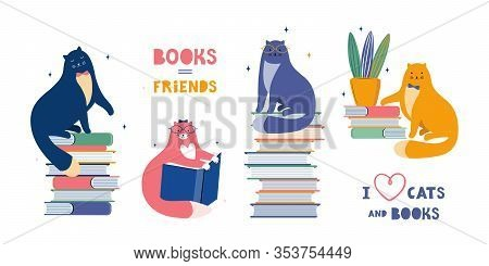 Funny Cats Are Literary Fans. Cute Animals Lovers Of Literature. Cartoon Cats Read And Sit On A Larg