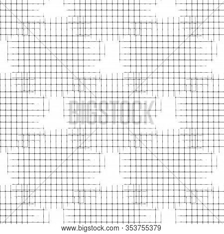 Vector Seamless Pattern With Irregular Abstract Linear Grid. Graphical Hand Drawn Background.