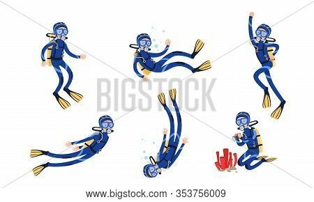 Collection Of Scuba Divers, Underwater Free Diver Swimming In The Sea Or Ocean Vector Illustration
