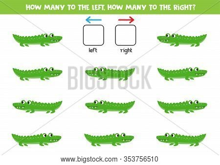 How Many Crocodiles Go To The Left And How Many To The Right. Logical And Counting Game For Kids.