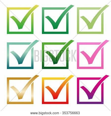 Mark V In Check Box. Different Color Green Red Hooks. Yes Icons In Frame For Websites, Applications,