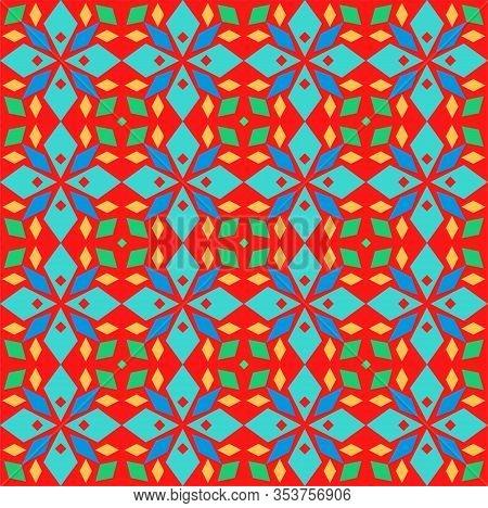 Kaleidoscope, Seamless Pattern, Geometric, Red, Vector. Geometric Pattern. Multicolored, Flat Vector