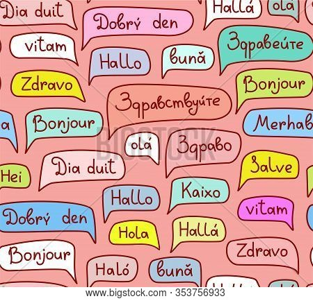 Hello, European Languages, Seamless Pattern, Contour Drawing, Pink, Color, Vector. The Word