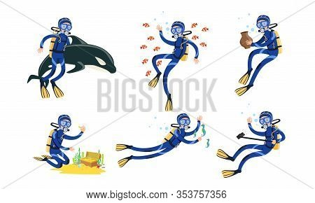 Professional Scuba Divers Collection, Free Diver Swimming In The Sea With Fishes, Seeking Treasures