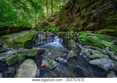 Fall Morning In Bohemian Switzerland, Bohemia, Czech Republic,river.