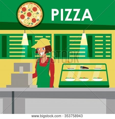Food Court, Pizzeria Flat Vector Illustration. Pizza Seller Cartoon Character. Delicious Meal Sale B
