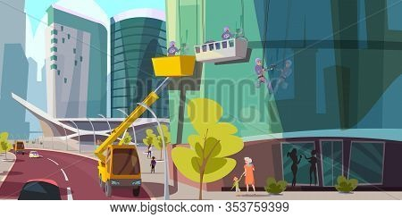 Window Washing Service Flat Vector Illustration. Professional Cleaners Crew Cartoon Characters. Men