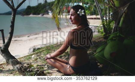 Peaceful Woman Sit under Tropical Coconut Palm. Caucasian Slim Girl in Bikini Looking at Ocean, Enjoying View. Koh Phangan Relaxing Vacation. Thailand Tranquility.