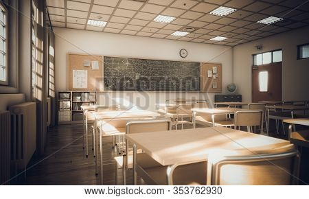 interior of a secondary school class, light from windows and cinematic atmosphere. education and study concept. 3d render. nobody around.