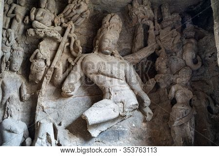 Ancient Shiva Statue Carved Out Of Stone Inside A Cave At Elephanta Caves Ruins In Mumbai (bombay) I