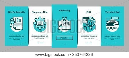 Sme Business Company Onboarding Mobile App Page Screen Vector. Sme Small And Medium Enterprise, Comm