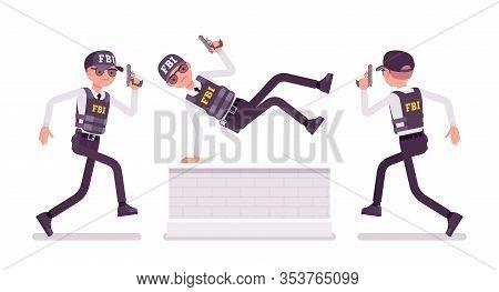 Fbi Agent Chasing. Federal Bureau Of Investigation Male Employee In Bulletproof Vest Protecting, Per