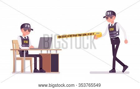 Fbi Agent Working. Federal Bureau Of Investigation Male Employee In Bulletproof Vest Working With La