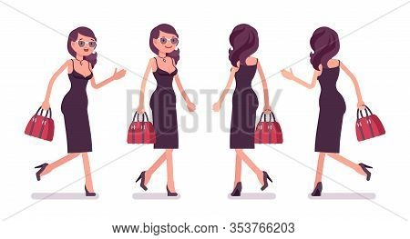 Glamour Girl Walking, Beautiful Woman Wearing Sexy And Attractive Clothing, Classic Appealing Black
