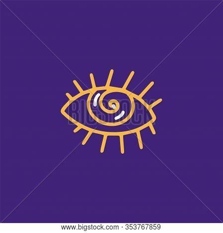 Eye Spiral Hypnotic Imagination Mystery Magic Line Style Icon Illustration
