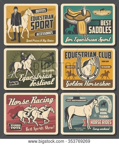 Horse Rides And Equestrian Races Sport Club Vintage Retro Posters. Vector Equestrian Ride Training S