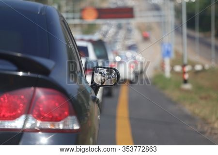 Traffic Jam On The Highway,traffic Congestion During Rush Hour Concept Of Traveling.