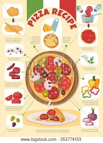 Food Products Recipe Infographic. Italian Pizza Recipe. The Stages Of Preparation, Ingredients Infog