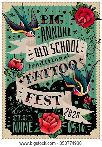 Old School Traditional Tattoo Poster. Vertical Poster Invitation To The Annual Tattoo Festival. Two