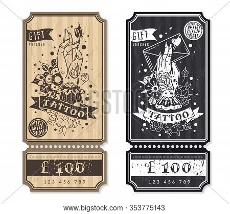 Old School Traditional Tattoo Vertical Flyers. Two Vertical Flyers, Gift Vouchers For Tattoos. Ticke